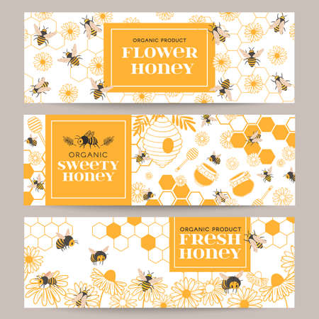 Honey banners. Business promote flyer with various beekeeping products, honeycomb and honey in jars, beeswax, bees and flowers, vector set. Illustration honey bee and beekeeping card
