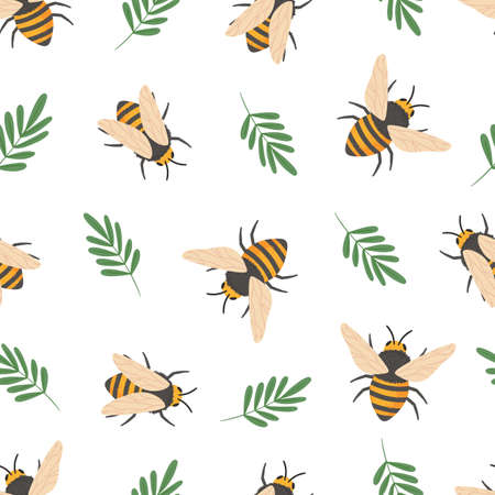 Bee pattern. Cute flying bees insects kids wallpaper or honey wrapping paper seamless vector doodle texture. Illustration bee insect flying pattern