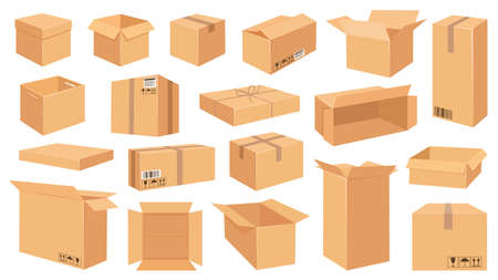 Cardboard boxes. Cartoon brown carton package. Open and closed delivery rectangle box with fragile signs. Vector shipping and packing set. Cardboard box, cube cartboard storage for distribution