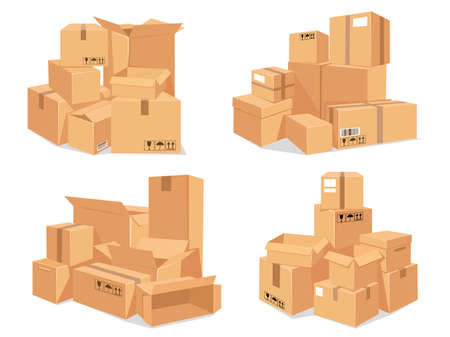 Carton box stack. Big pile of delivery brown cardboard boxes. Cartoon stacked warehouse parcels. Packing for moving to new house vector set. Illustration pile packing box to moving and distribution