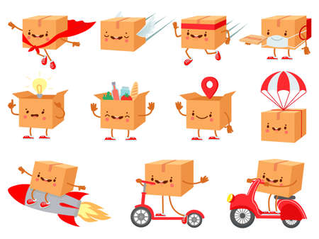 Cardboard box character. Fast delivery service mascot. Cartoon boxes with faces. Shipping package on parachute. Happy purchase vector set. Mascot package box for delivey service illustration