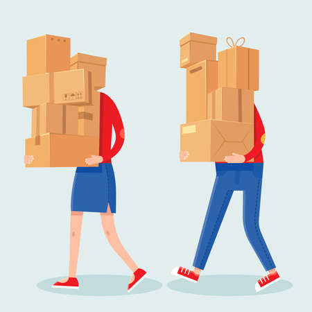 People carrying boxes stack. Cartoon man and woman with heavy carton box pile. Family couple carry packages. House moving vector concept. Illustration delivery package, carrying cardboard box