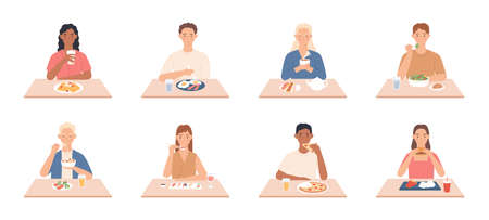 People eat. Men and women eating delicious meals, friends sit at table in restaurant, cafe and eat different tasty vector set. Woman and man eating food, delicious lunch or dinner illustration
