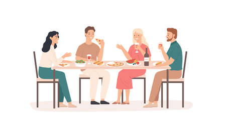 Friends eating. Fun and smiling people at table in restaurant, cafe or home drink beverage, eat tasty dishes friendly hangout vector concept. Illustration restaurant people talking meeting