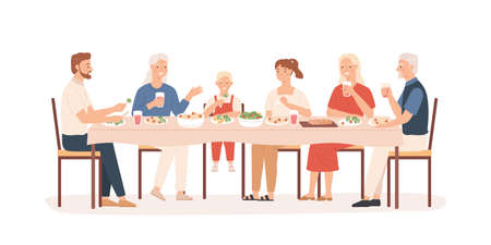 Family dinner. Grandparents, parents and kids sitting at holiday table, happy people eating delicious food, vector concept. Illustration mother and father with big family have dinner