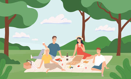 Friends at picnic. Happy young men and women having lunch together outdoor, rest to nature summer vacation cartoon vector illustration. Summer picnic and recreation, happy young together rest