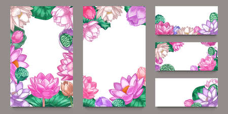 Lotus banners. Floral composition pink lotus flowers and green leaves with lettering romantic greeting cards, wedding invitation vector set. Illustration floral blossom banner, greeting wedding Illustration