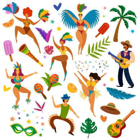 Brazilian carnival. Latino festival masquerade items, mask and feathers. Women dancers, music instruments, guitarist vector set. Latino carnival holiday, woman masquerade cartoon illustration