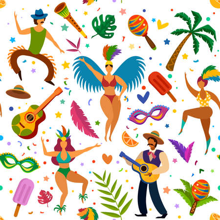Brazilian carnival seamless pattern. Dancers and maracas, palm tree, masks and feathers, latino dance festival wallpaper vector texture. Pattern seamless wallpaper latin masquerade, brazilian holiday