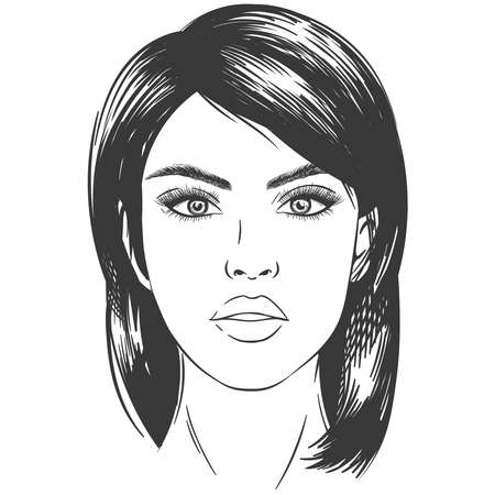 Sketch woman face. Sexy beautiful brunette girl portrait with eyes, young female adored head monochrome, vector illustration pop-art. Face girl portrait, woman brunette fashion