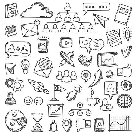 Doodle social media. Sketch social networks, communication friendly like network smartphone, phone, computer vector set web community. Illustration media social marketing, web icons Illusztráció