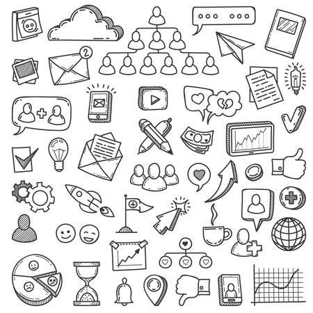 Doodle social media. Sketch social networks, communication friendly like network smartphone, phone, computer vector set web community. Illustration media social marketing, web icons Illustration