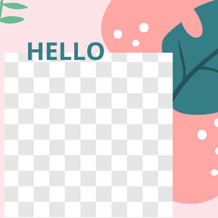 Floral post. Garden flora hello social media post template. Vector hello floral garden, flora social media post template with backdrop springtime illustration