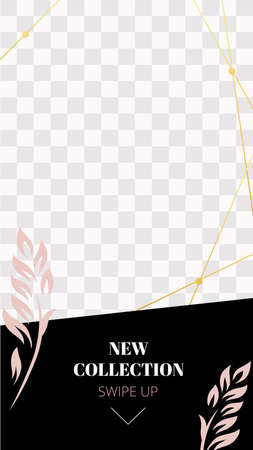 Fashion floral story. Cute pink new collection social media story template. Announcement new promo story with swipe up arrow and promotion new collection illustration