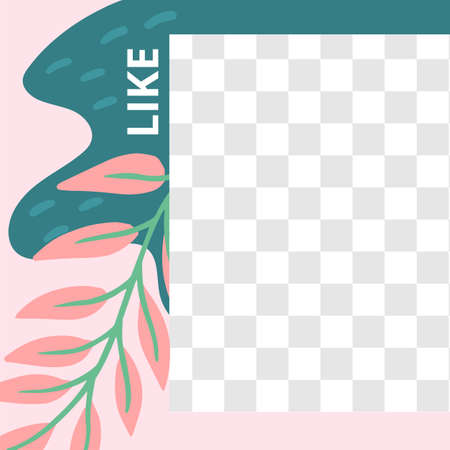 Floral post. Garden flora like social media post template. Template post for social media with floral elements. Vector illustration