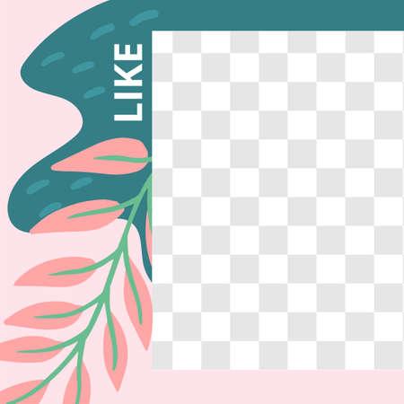 Floral post. Garden flora like social media post template. Template post for social media with floral elements. Vector illustration