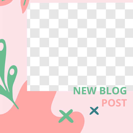 Floral post. Garden flora new blog post social media post template. New blog and post with flora garden plant to social, media composition illustration vector