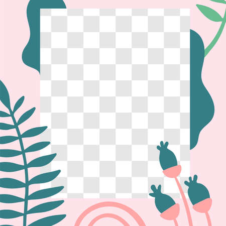 Floral post. Garden flora social media post template. Frame for post photo or video. Empty area for information, vector illustration