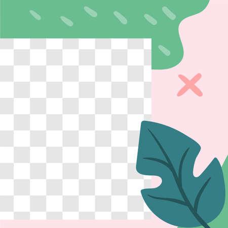Floral post. Garden flora social media post template. Vector frame with transparent space and springtime botanical cover, promotion smm illustration