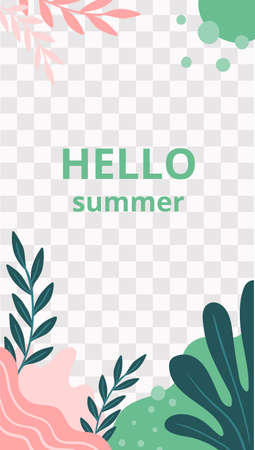 Floral story. Garden flora hello summer social media story template. Jungle backdrop and flora spring for mobile page social media story illustration vector