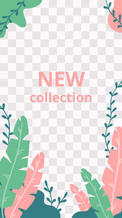 Floral story. Garden flora new collection social media story template. Floral page with colored flat plants, ad new fashion collection in network. Vector illustration