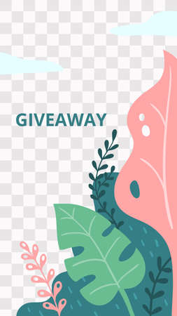 Floral story. Garden flora giveaway social media story template. Mobile size promo story with botany frame for social media, vector illustration Illusztráció