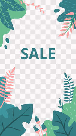 Floral story. Garden flora new collection social media story template. Vector promo sale advertising, blossom social media page with green plant illustration