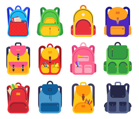 School backpack. Color schoolbags zipper and pockets with stationery supplies for students, rucksacks for traveling, study flat vector set. School bag and luggage, pack and backpack illustration