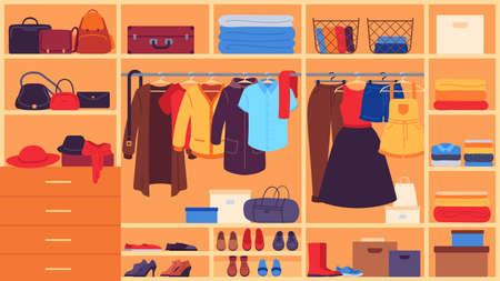 Wardrobe. Inner space closet, shelves and hangers with clothes, shoes and accessories, organization and storage clothing flat vector set. Wardrobe female clothes, clothing storage illustration