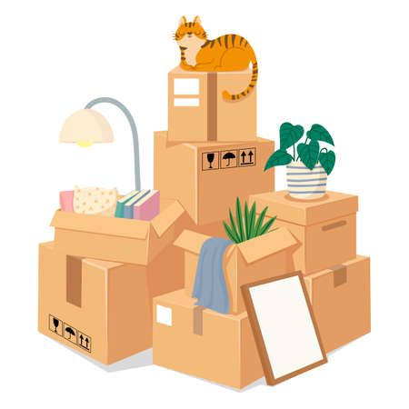 Boxes stack for moving. Stacked brown cardboard packages with stuff for move to new house. Box pile of sealed goods. Vector moving concept. Illustration stacked and packing pile crate to moving