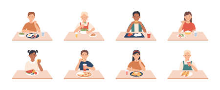 Kids eat. Boys, girls group eating meals and drinks at table, enjoying breakfast, lunch children vector character. Dinner sitting people, breakfast enjoying fast food and other meal illustration Vettoriali