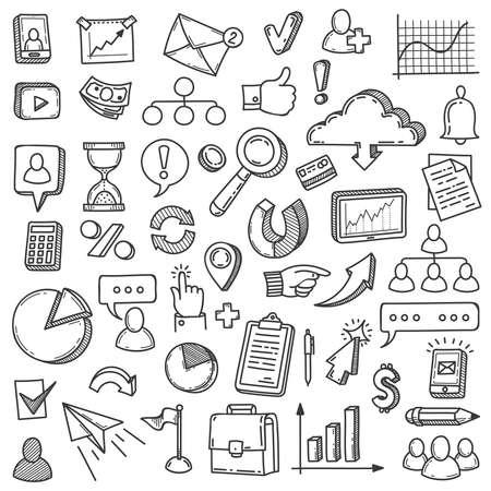 Digital marketing doodle. Media market business internet management. Blog communication startup team innovation presentation vector set. Illustration digital marketing icons sketch