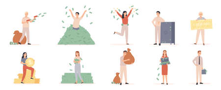 Rich men and women. Wealthy people with moneybags and cash dollar, millionaire bathing in money, entrepreneur finance success vector set. Illustration millionaire with moneybag, and bathing in cash 矢量图像