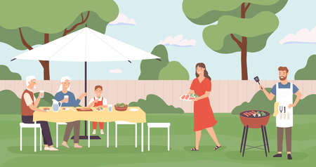 People at barbecue. Happy family, friends spending time in backyard home picnic, cooking grill and talking, leisure outdoors vector concept. Illustration barbecue friendship at backyard Ilustração