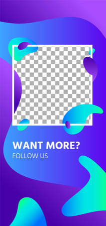 Fluid shapes story. Abstract follow us social media story template, Page for application follow us content with place for photo, vector illustration