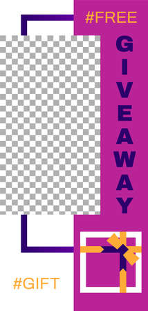 Giveaway story. Abstract geometrical social media story template. Banner give away gift, modern story promotion, vector illustration