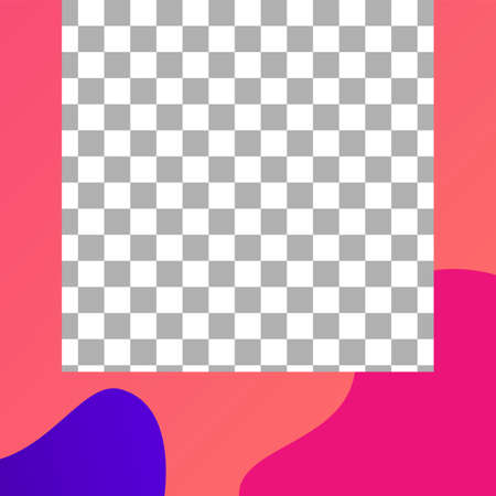 Fluid shapes post. Trendy photo frame post template. Vector liquid colored pattern for story in social media illustration