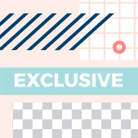 Memphis style post. Trendy abstract exclusive social media post template. Vector memphis social exclusive design for social illustration