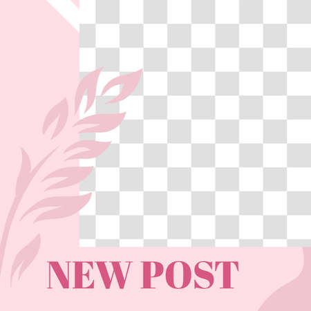 Pink floral post. Cute abstract new post social media post template. Social media layout, new sale post, vector illustration