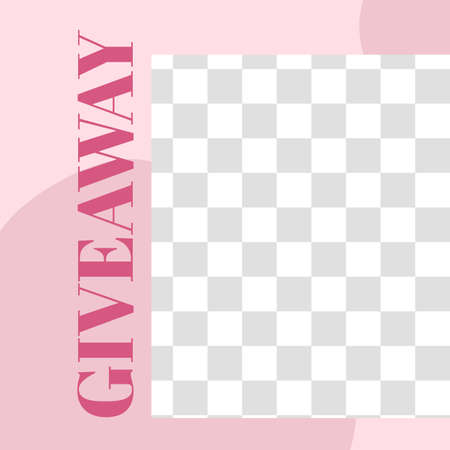 Pink floral post. Cute abstract giveaway social media post template. Vector story poster for media promotion, border for image illustration