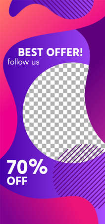 Fluid shapes story. Colorful sale social media story template. Follow us and sale off headline, collage to advertising in social post. Vector illustration