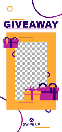 Giveaway story. Abstract minimal social media story template. Illustration give away abstract advertising for mobile application vector