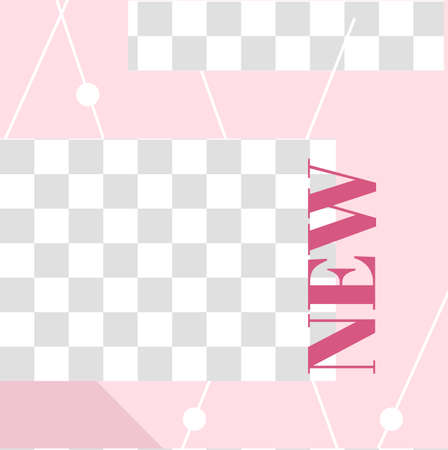 Pink floral post. Cute abstract new social media post template. Social story decoration, announcement frame flyer trend, vector illustration