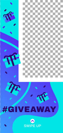 Giveaway story. Abstract social media story template. Illustration info editable swipe up, trendy give away poster vector Vettoriali