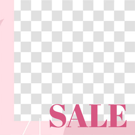 Pink floral post. Cute abstract sale social media post template. Vector sale layout, social post media promotion, square promo illustration