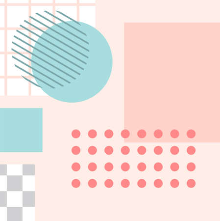 Memphis style post. Trendy abstract social media post template. Special promotion contemporary application, content with geometry figure. Vector illustration Vettoriali
