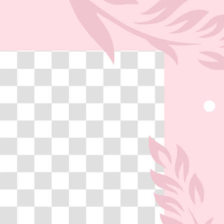 Pink floral post. Cute abstract social media post template. Promo minimal post social, pattern promotion page illustration
