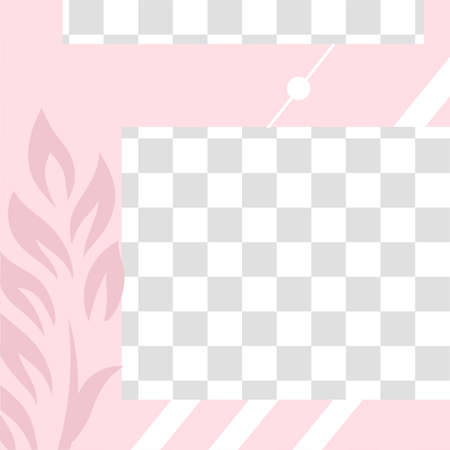Pink floral post. Cute abstract social media post template. Post card layout for social media. Vector illustration