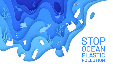 Ocean pollution paper art. Poster plastic waste, bottle and bag in sea with fish and turtle. Paper cut save environment vector concept. Illustration problem sea garbage, underwater wildlife with junk Stock Illustratie