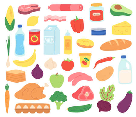 Food products. Natural meat, dairy, organic fruits and vegetables, desserts and bread. Goods in package and can, flat vector set. Natural meal and product, nutrition healthy and fresh illustration